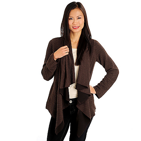 710-780 - Kate & Mallory Long Sleeved Open Front Textured Cascade Cardigan