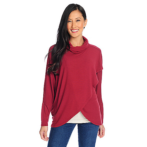 710-791 - Kate & Mallory® Stretch Rayon Dolman Sleeved Tulip Wrap Knit Pullover
