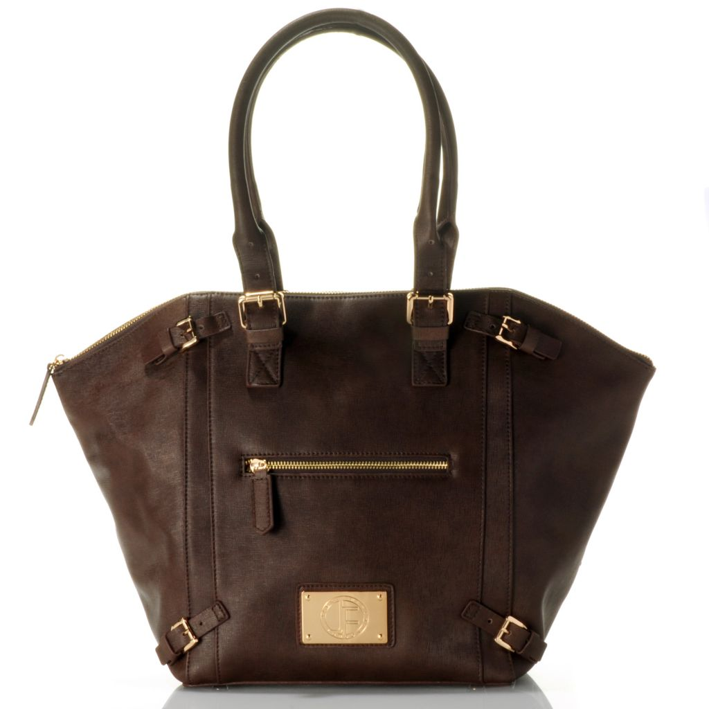 "710-794 - Jack French London Leather ""Shoreditch"" Zip Top Tote Bag"