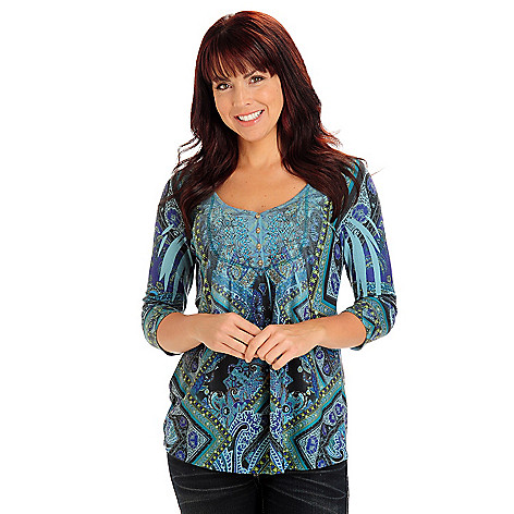 710-817 - One World Sweater Knit 3/4 Sleeved Embellished V-Neck Henley Top