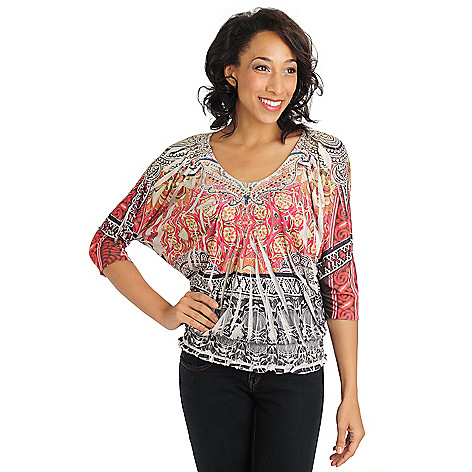 710-826 - One World Printed Knit Dolman Sleeve Smocked Bottom Bling V-Neck Top