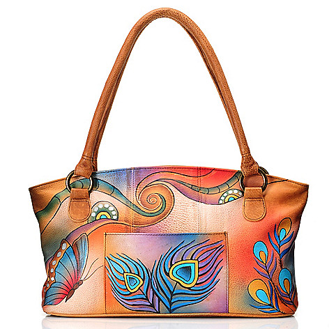 710-864 - Anuschka Hand-Painted Leather Zip Top Wide Tote Bag