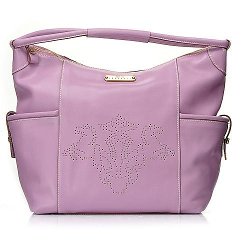 710-967 - PRIX DE DRESSAGE Leather Perforated Logo Zip Top Hobo Handbag
