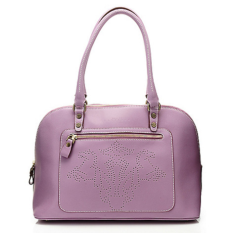 710-968 - PRIX DE DRESSAGE Leather Perforated Logo Double Handle Satchel