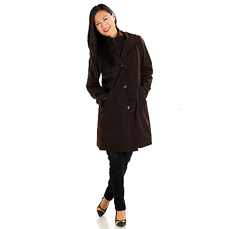 710-970 - London Fog Microfiber Fully Lined Pocket Detail 3/4 Length Coat
