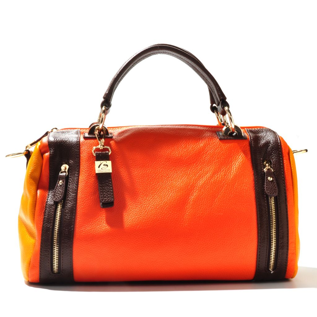 710-975 - Buxton® Leather Double Handle Color Block Barrel Satchel