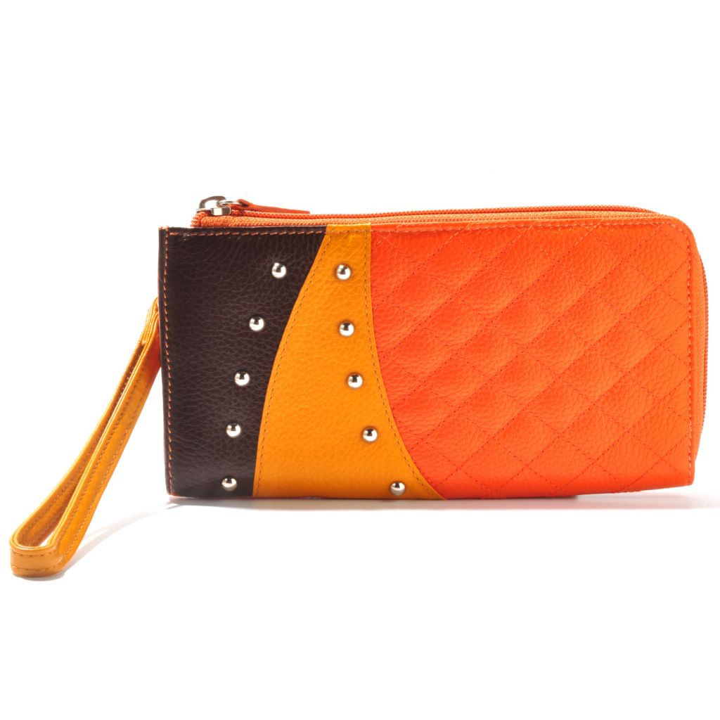 710-976 - Buxton® Pebbled Leather Color Block Quilt Stitched & Studded Wallet
