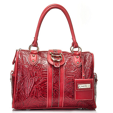 711-005 - Madi Claire ''Melissa'' Tool Embossed Leather Zip Top Satchel w/ Shoulder Strap