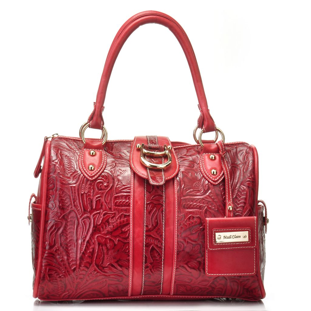 711-005 - Madi Claire Tool Embossed Leather Zip Top Satchel w/ Shoulder Strap