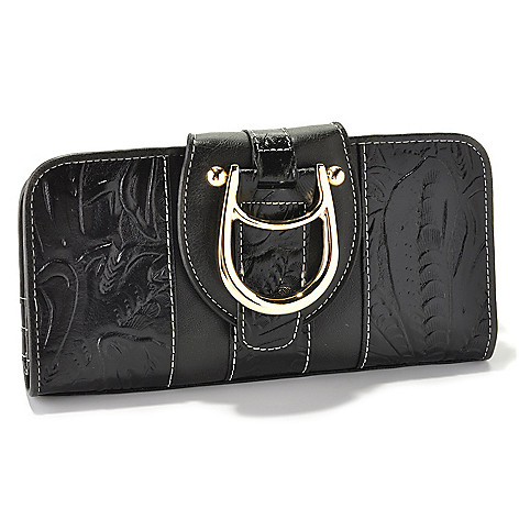 711-006 - Madi Claire ''Melissa'' Tool Embossed Leather Flap-over Wallet