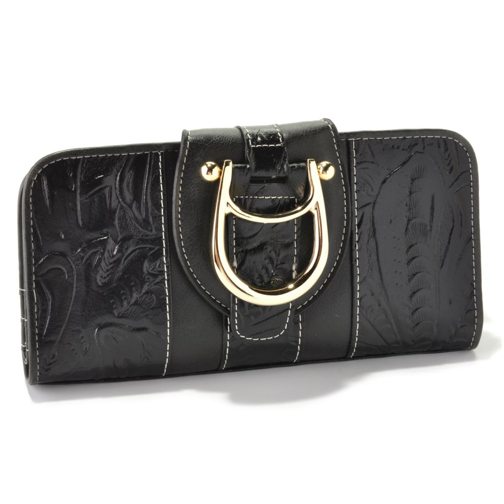711-006 - Madi Claire Tool Embossed Leather Flap-over Wallet