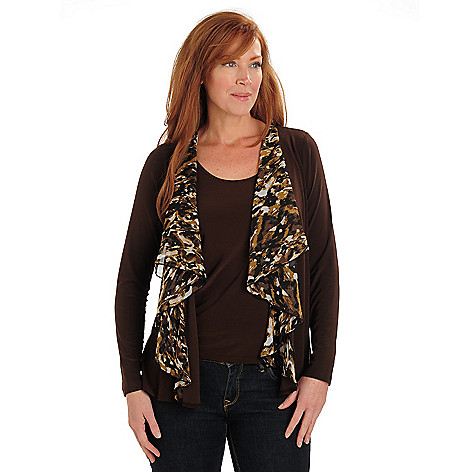 711-021 - Kate & Mallory Stretch Knit Open Front Cascade Cardigan w/ Camisole