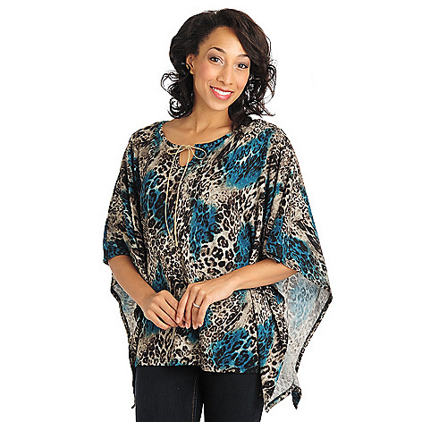 711-027 - Kate & Mallory Sweater Knit Dolman Sleeved Notch Tie Neck Top w/ Knit Camisole