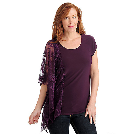 711-041 - Kate & Mallory Stretch Knit Lace Cascade Sleeve Scoop Neck Top