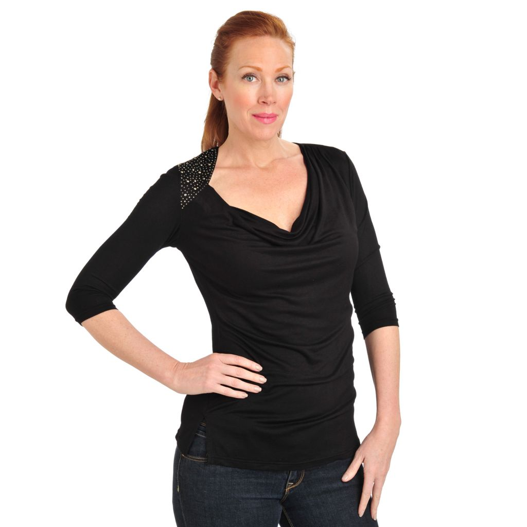 711-055 - Glitterscape Stretch Knit 3/4 Sleeved Embellished Drape Neck Top