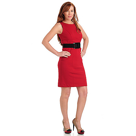 711-063 - Kate & Mallory Ponte Knit Sleeveless Shift Dress w/ Stretch Belt