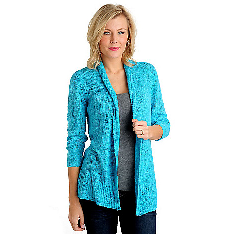 711-103 - OSO Casuals Open Slub Knit 3/4 Sleeved Drape Neck Cardigan Sweater