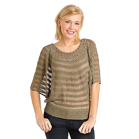 711-104 - Kate & Mallory Tape Yarn Open Dolman Sleeved Pullover Sweater