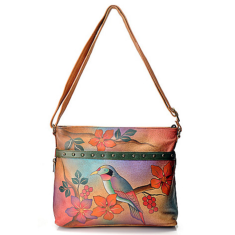 711-120 - Anuschka Hand-Painted Leather Medium Organizer Cross Body Bag