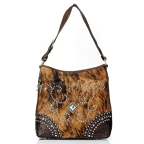711-245 - American West Hand-Tooled Leather & Calf Hair Hobo Handbag
