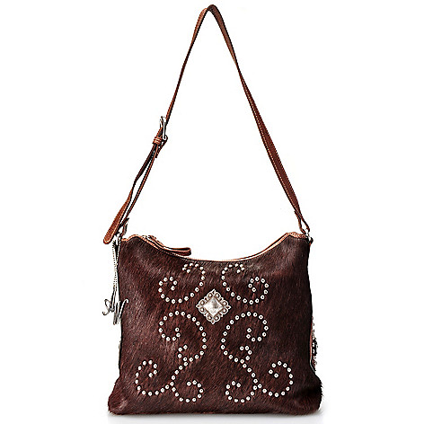 711-246 - American West Hand-Tooled Leather & Calf Hair Hobo Handbag