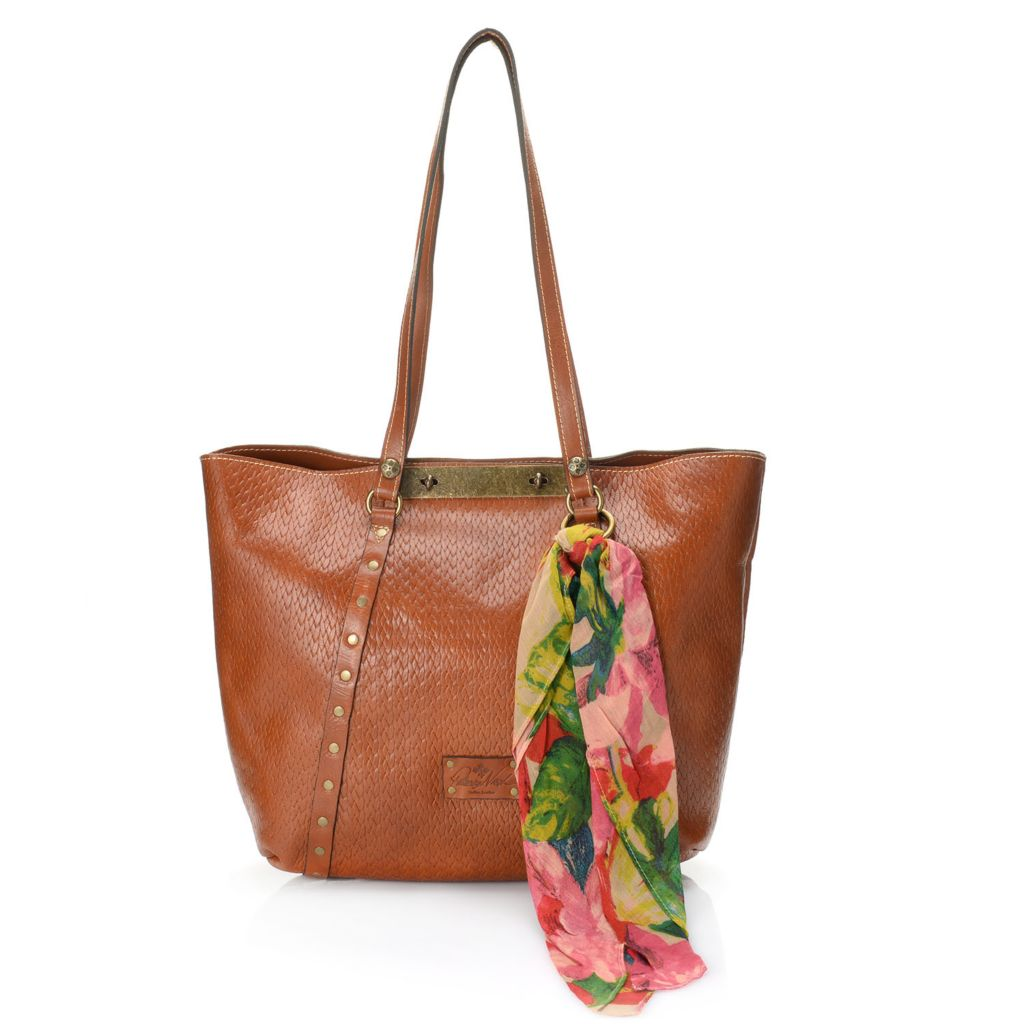 711-247 - Patricia Nash Leather Double Turn Lock Tote Bag