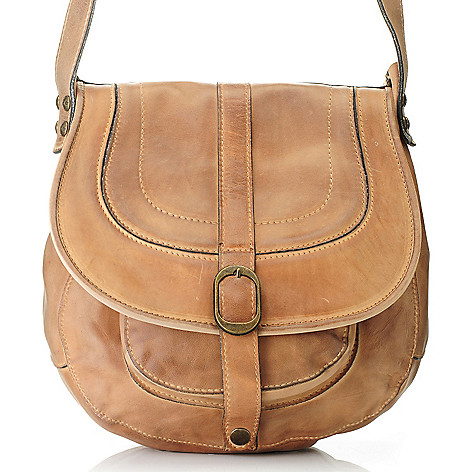 711-249 - Patricia Nash ''Barcelona'' Leather Cross Body Saddle Bag