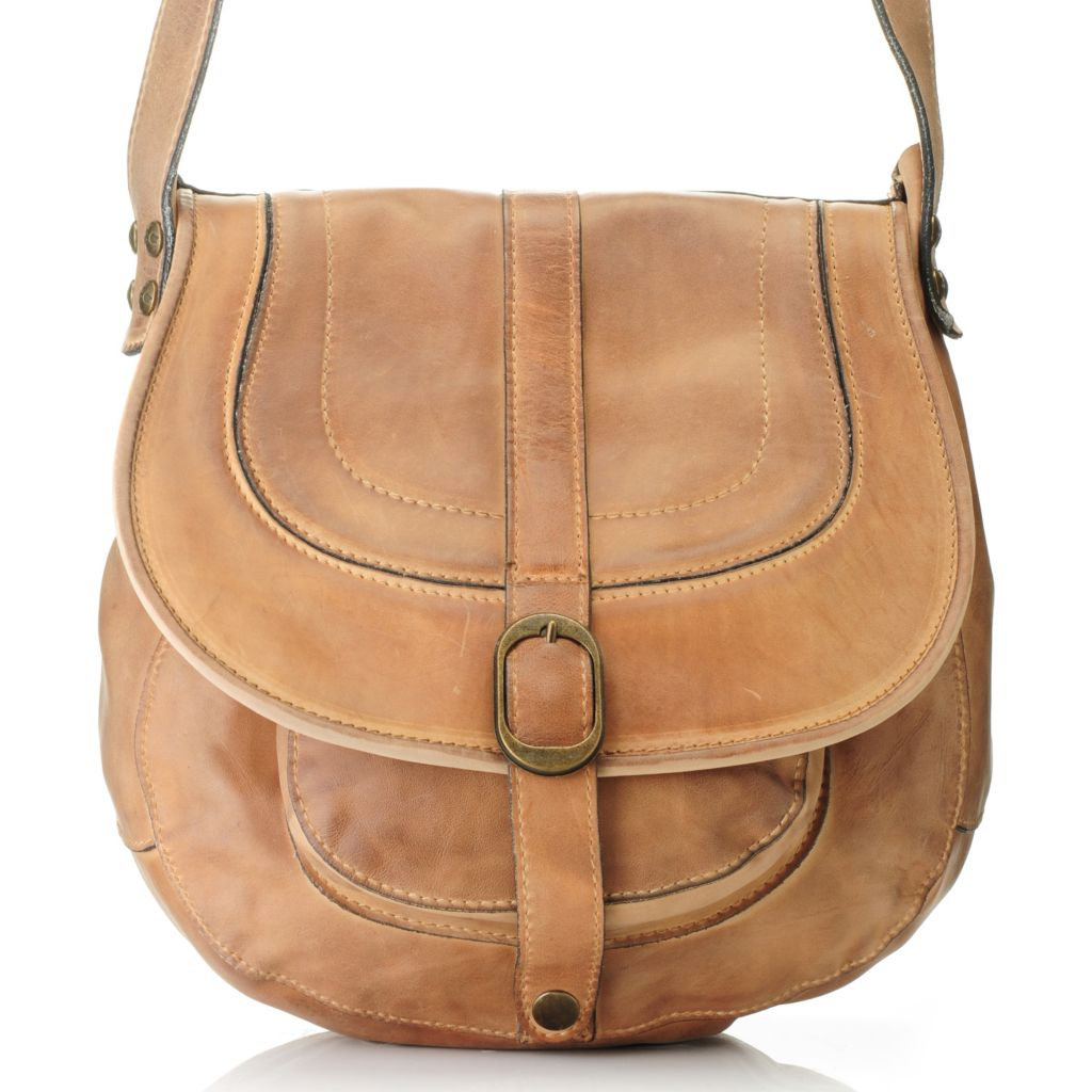 711-249 - Patricia Nash Leather Cross Body Saddle Bag