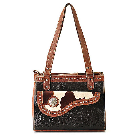 711-250 - American West Triple Compartment Stud Detailed Leather & Cow Hide Tote Bag