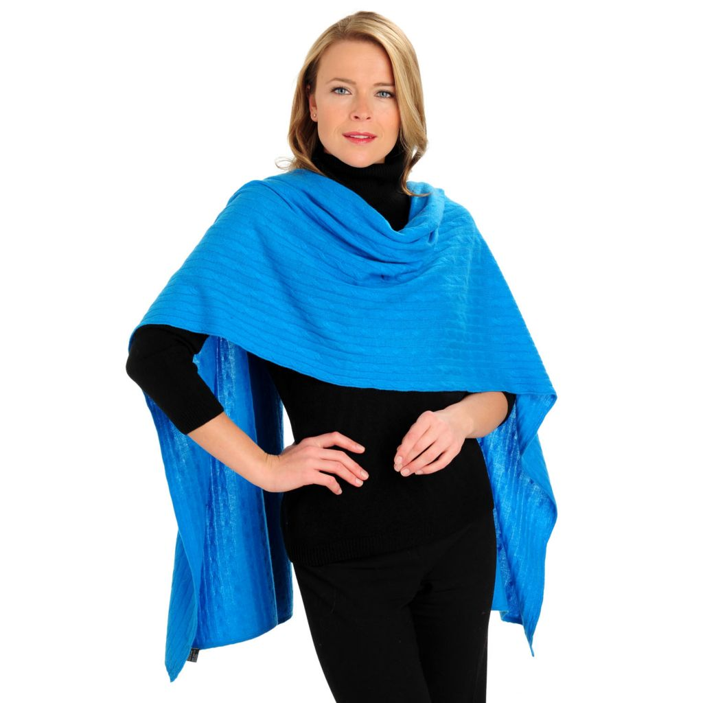 711-262 - Lusso Two-Ply 100% Cashmere Cable Knit Oversized Wrap