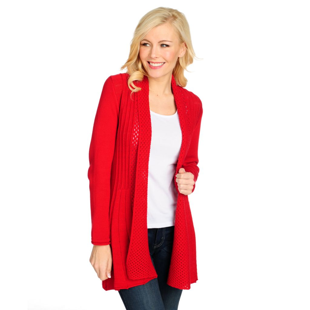 711-267 - Geneology Textured Stitch Rolled Collar Open Front Cardigan Sweater