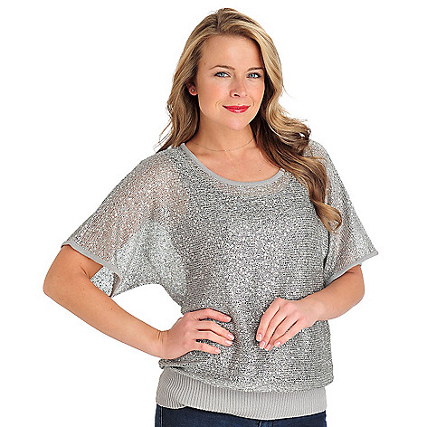711-276 - Love, Carson by Carson Kressley Open Stitch Knit Dolman Sleeved Sequin Sweater
