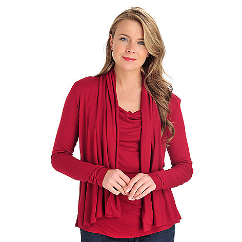 711-279 - Love, Carson by Carson Kressley Stretch Knit Built-in Cowl Neck Two-fer Cardigan