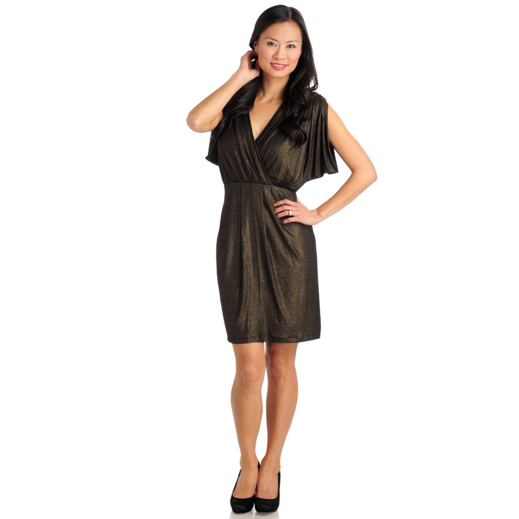 711-284 - Love, Carson by Carson Kressley Stretch Knit Sleeveless Faux Wrap Dress