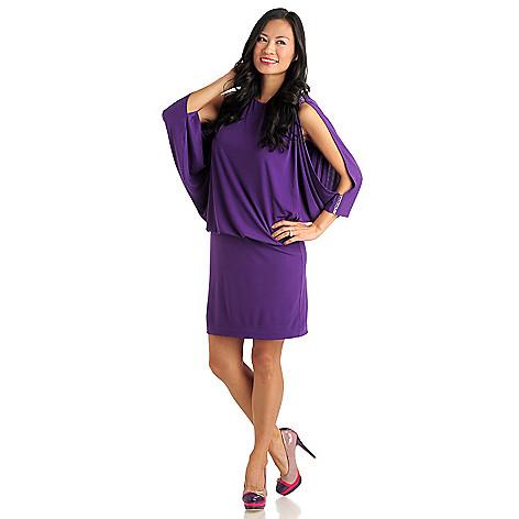 711-285 - Love, Carson by Carson Kressley Stretch Knit Cold Shoulder Blouson Dress