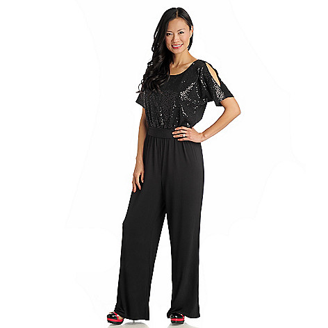 711-286 - Love, Carson by Carson Kressley Stretch Knit Sequined Top Belted Jumpsuit