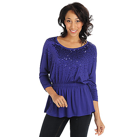 711-295 - Glitterscape Stretch Knit Elastic Waist Sequin Neckline Top