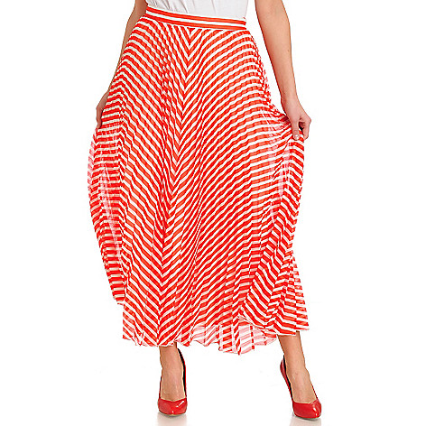 711-297 - WD.NY Yoryu Accordion Pleat Side Zip Striped Maxi Skirt