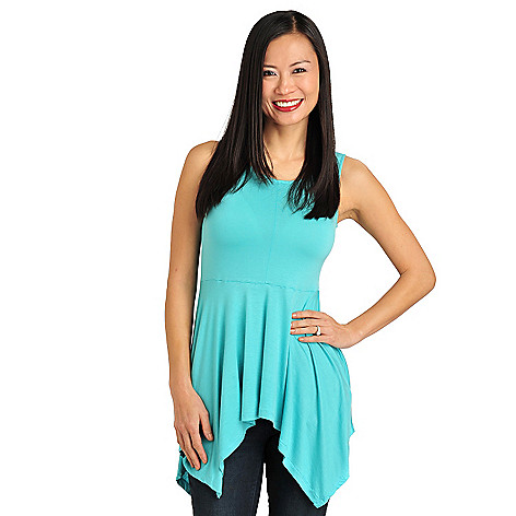 711-306 - WD.NY Stretch Knit Sleeveless Sharkbite Peplum Tunic Top