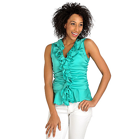711-309 - WD.NY Charmeuse Ruched Sides Ruffle Front Sleeveless Blouse