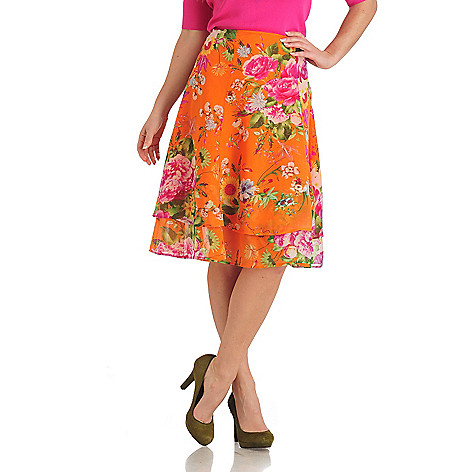 711-315 - WD.NY Chiffon Side Zip Two-tiered A-line Skirt