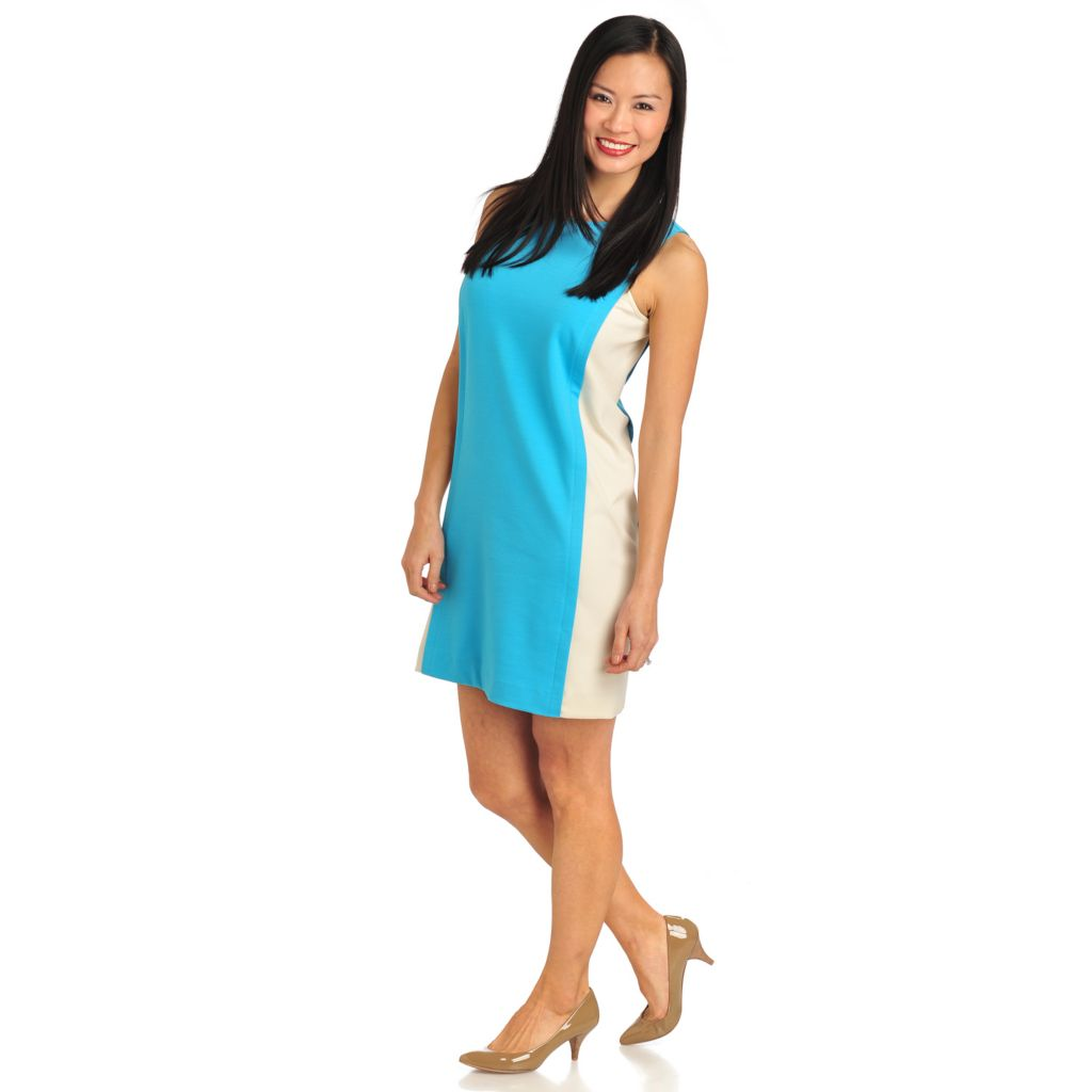 711-316 - WD.NY Stretch Ponte Sleeveless Color Block Pieced Shift Dress