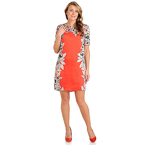 711-318 - WD.NY Satin Twill Elbow Sleeved Mirror Printed Shift Dress