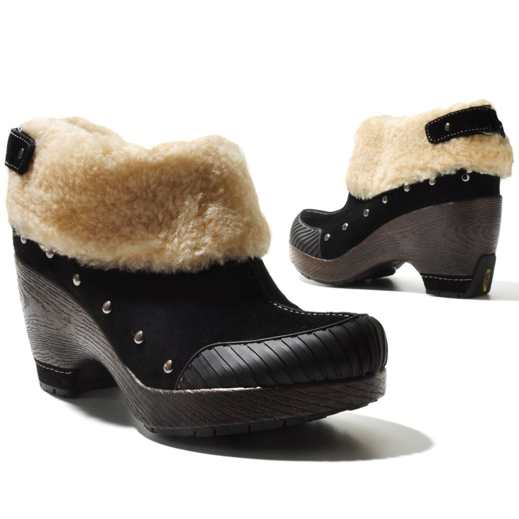 "711-364 - Jambu Suede Leather ""Holland"" Sherpa Cuffed Ankle Boots"