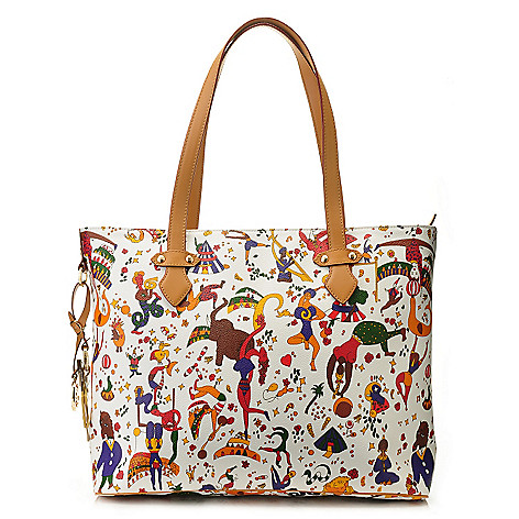 711-403 - Piero Guidi Coated Canvas Magic Circus Double Handle Large Tote Bag
