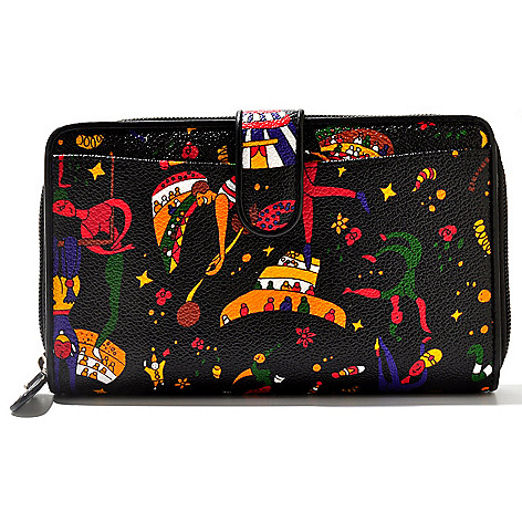 711-404 - Piero Guidi Coated Canvas Magic Circus Collection Snap & Zip Around Wallet