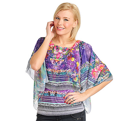 711-444 - One World Printed Knit Tank Top w/ Metallic Stripe Chiffon Overlay