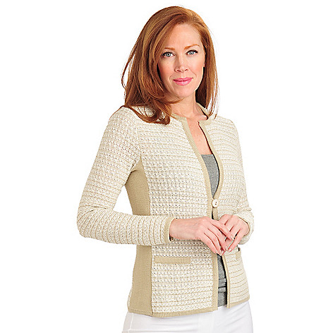 711-450 - Geneology Two-tone Knit Contrast Trim One-Button Cardigan Sweater