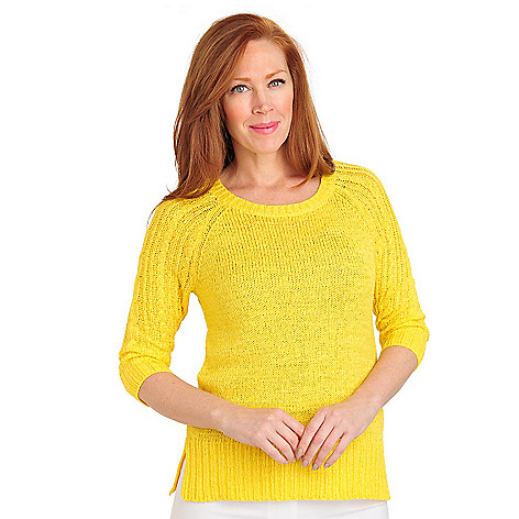 711-454 - Geneology Tape Yarn 3/4 Sleeved Rib Trimmed Pullover Sweater
