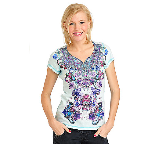 711-459 - One World Rib Knit Short Sleeved Mirror Printed Henley Top